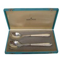 Georg Jensen Sterling Silver Boxed Salad Set in the Beaded Pattern