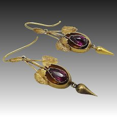 19th C. Cannetille 14KT Gold and Garnet Earrings