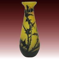 Rare Gallé Cameo Glass Thistle Vase