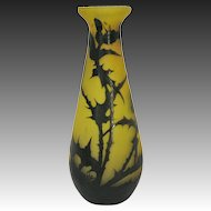 Rare Gallé Cameo Glass Thistle Vase