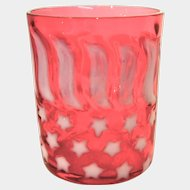 Stars & Stripes Pattern Opalescent Cranberry Tumbler
