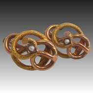 14 K Gold and Seed Pearl Etruscan Revival Love Knot Earrings