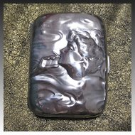 Unger Brothers Sterling Silver Smoking Lady Cigarette Case