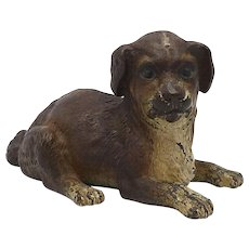 Bergman Cold Painted Bronze Dog Sculpture