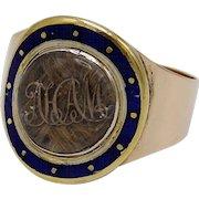 Georgian Era 12KT Gold Mourning Ring with Hair and Enamel