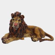 Austrian Cold Painted Bronze Lion Sculpture