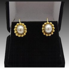 Antique French Natural Gray Pearl Earrings