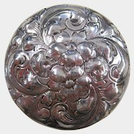 Dominick & Haff Sterling Silver Floral Repousse Rouge Pot or Pill Box, circa 1890s