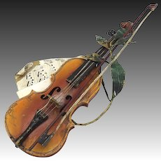 Bergman Cold Painted Bronze Violin Sculpture