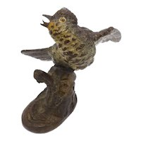 Austrian Cold Painted Bronze Bird on Branch Sculpture
