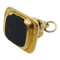 9kt Gold and Bloodstone Watch Fob Pendant, Circa 1905