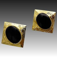 Victorian 14kt Gold and Onyx Mourning Earrings
