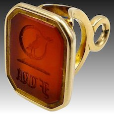 Victorian-era 14kt Gold and Carnelian Intaglio Watch Fob Pendant