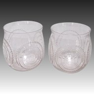 Pair of R Lalique Spirale Goblets