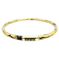 SOHO 18K Gold Enamel Golden Calligraphic Stripe Bangle Bracelet