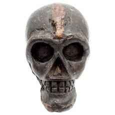 Hand Carved Wooden Folk Art Skull
