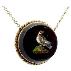 Micro Mosaic Bird Necklace with 18k Gold Bezel and Chain