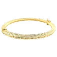 18K Gold Italian Textured Bangle Bracelet