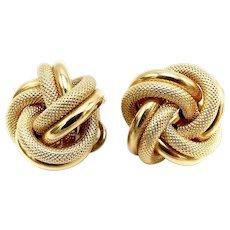 Vintage 18K Gold Italian Lovers Knot Earrings
