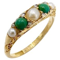 18K Gold Victorian Turquoise, Diamond and Pearl Ring