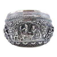 British Indian-Burmese Figural Landscape Repoussé Silver Bowl