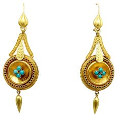 14K Gold Etruscan Revival Earrings with Turquoise Cabochons