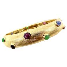 14K Gold Vintage Florentine Finish Gemstone Bracelet