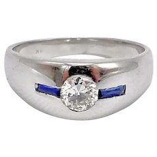 18K White Gold Retro Ring with Diamond and Sapphires