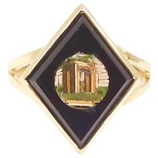 14K Glass and Onyx Grand Tour Micro Mosaic Ring