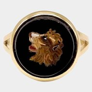 14K Gold & Onyx Micro Mosaic Lion Ring