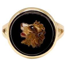 14K Micro Mosaic Lion Ring
