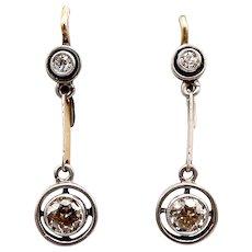 14K White & Yellow Gold Art Deco Diamond Dangle Earrings
