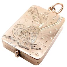 14K Rose Gold Aesthetic Movement Butterfly & Bird Locket