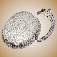 19th Century Indian Silver Repousse Oval Flower Box