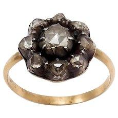 18K Gold Georgian Era Diamond Flower Ring