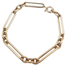 Vintage British 9K Gold Trombone Link Charm Bracelet