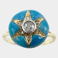 Upcycled Early Victorian Star Diamond & Blue Enamel Ring