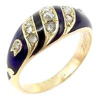 15K Victorian Blue Enamel and Rose Cut Diamond Memorial Ring