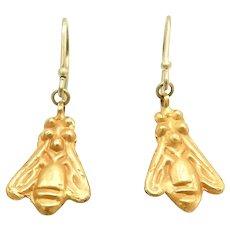 21K Gold Antiquity Afghanistan Bee Earrings