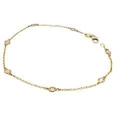 Vintage Italian 14K Gold & 7 Diamond-By-The-Yard Bracelet