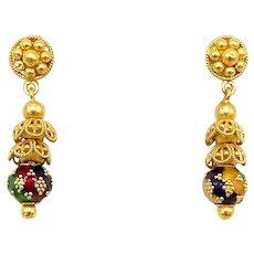 Vintage 21.6K Gold Indian Cannetille Earrings with Multi Color Enamel