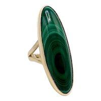 14K Gold Baguette Malachite Artisan Ring