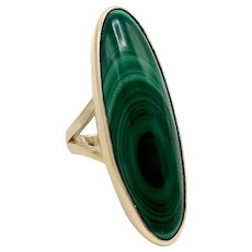 14K Gold Baguette Malachite Artisan Ring