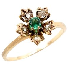 14K Gold Flower Ring with Diamonds and Emerald