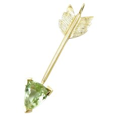 Artisan 14K Gold Bright Green Tourmaline Arrow Pendant