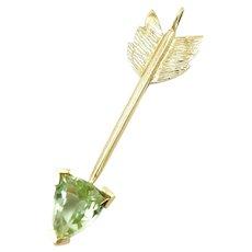 Artisan 14K Gold Bright Green Tourmaline Arrow Pendant
