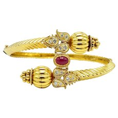 18K Indian Gold Bypass Bangle Bracelet