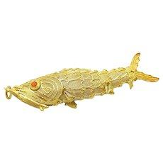 14K Gold Vintage Vermeil Articulated Koi Fish Pendant