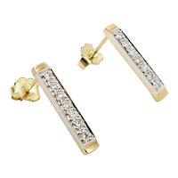 14K Gold Diamond Bar Signature Design Earrings