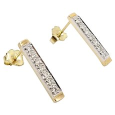14K Gold Diamond Bar Signature Design Earrings